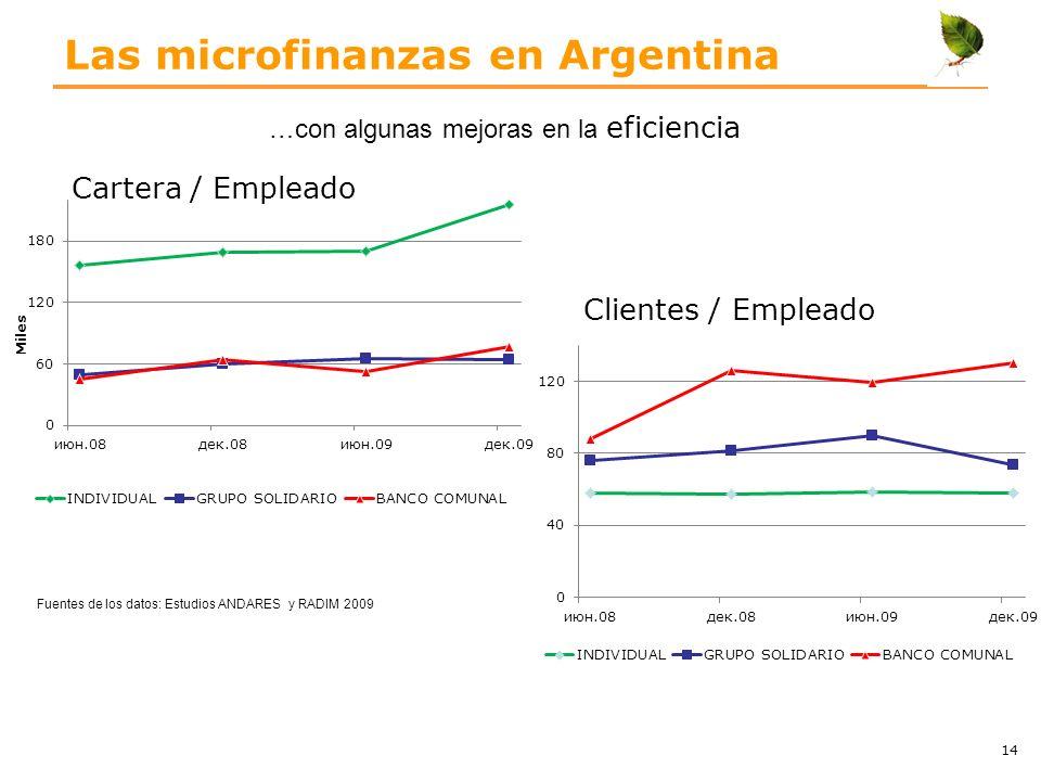 Las microfinanzas en Argentina Cartera / Empleado …con algunas mejoras en la eficiencia 14 Clientes / Empleado Fuentes de los datos: Estudios ANDARES