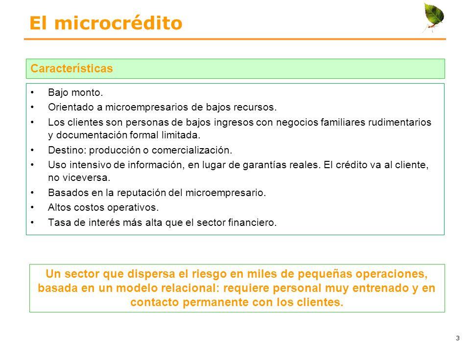 El microcrédito Bajo monto. Orientado a microempresarios de bajos recursos. Los clientes son personas de bajos ingresos con negocios familiares rudime