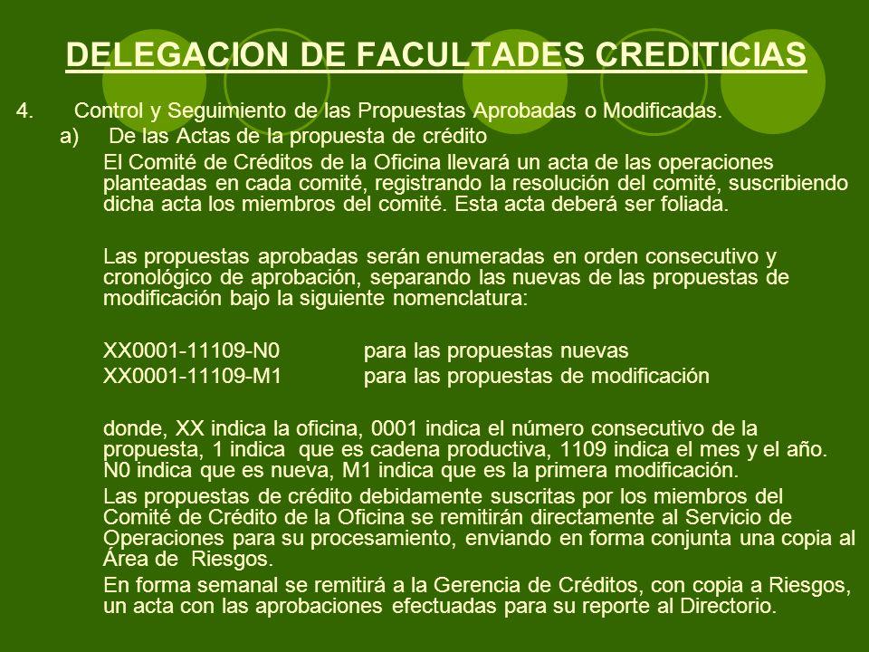DELEGACION DE FACULTADES CREDITICIAS 4.Control y Seguimiento de las Propuestas Aprobadas o Modificadas.