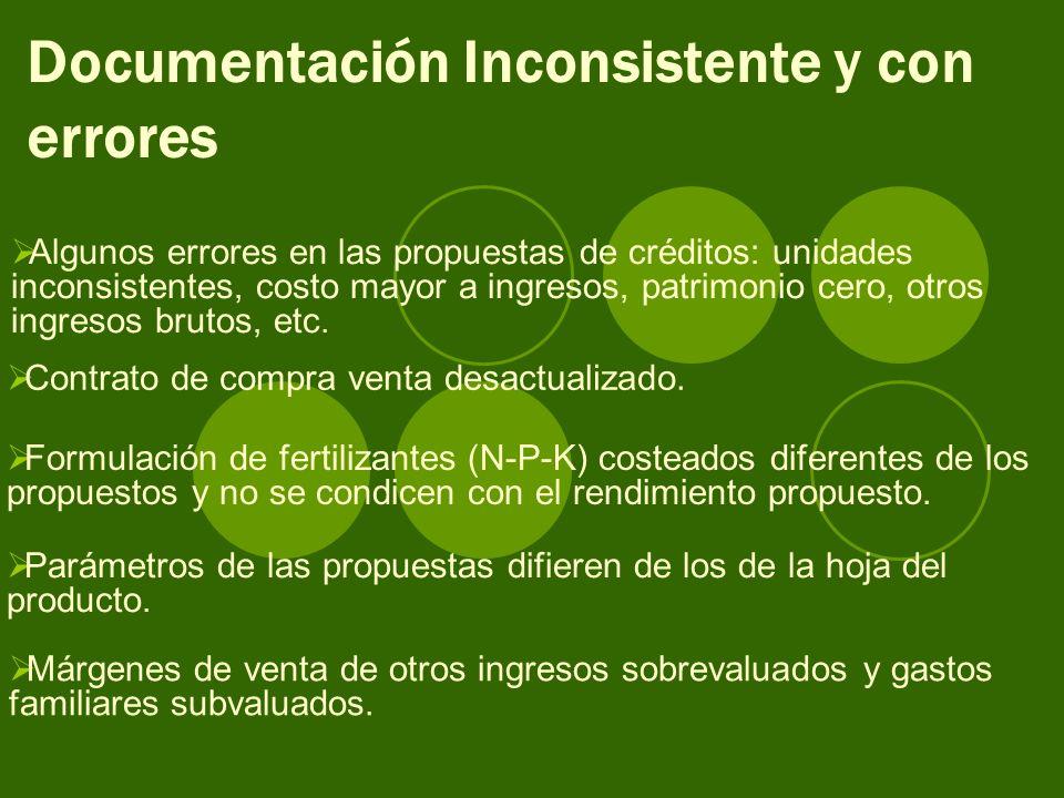 Documentación Inconsistente y con errores Algunos errores en las propuestas de créditos: unidades inconsistentes, costo mayor a ingresos, patrimonio cero, otros ingresos brutos, etc.