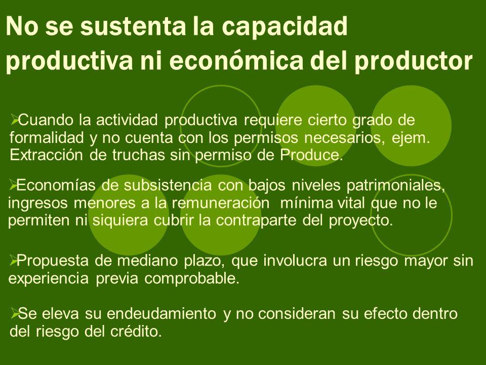 No se sustenta la capacidad productiva ni económica del productor Cuando la actividad productiva requiere cierto grado de formalidad y no cuenta con los permisos necesarios, ejem.