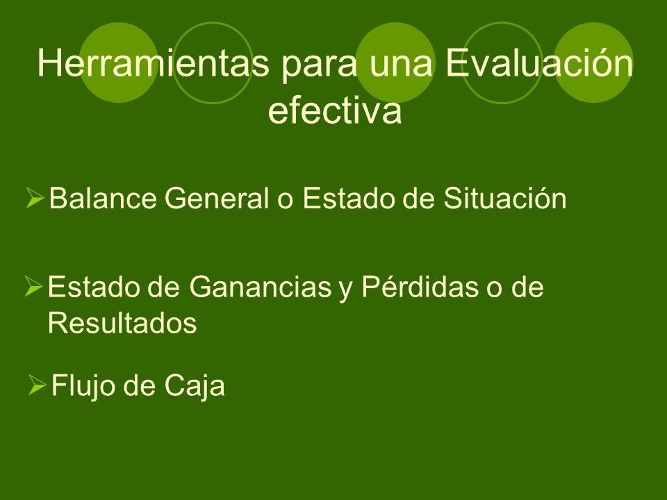 Herramientas para una Evaluación efectiva Balance General o Estado de Situación Estado de Ganancias y Pérdidas o de Resultados Flujo de Caja