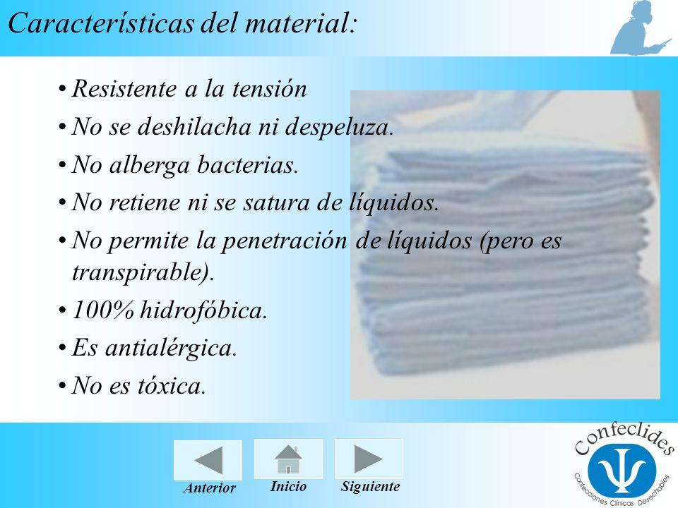 InicioAnteriorSiguiente Características del material: Resistente a la tensiónResistente a la tensión No se deshilacha ni despeluza. No alberga bacteri