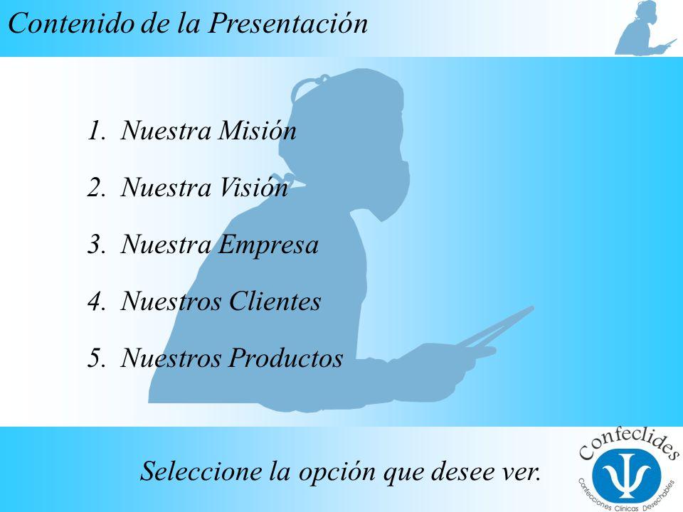 InicioAnteriorSiguiente Contenido de la Presentación Seleccione la opción que desee ver. 1.Nuestra MisiónNuestra Misión 2.Nuestra VisiónNuestra Visión