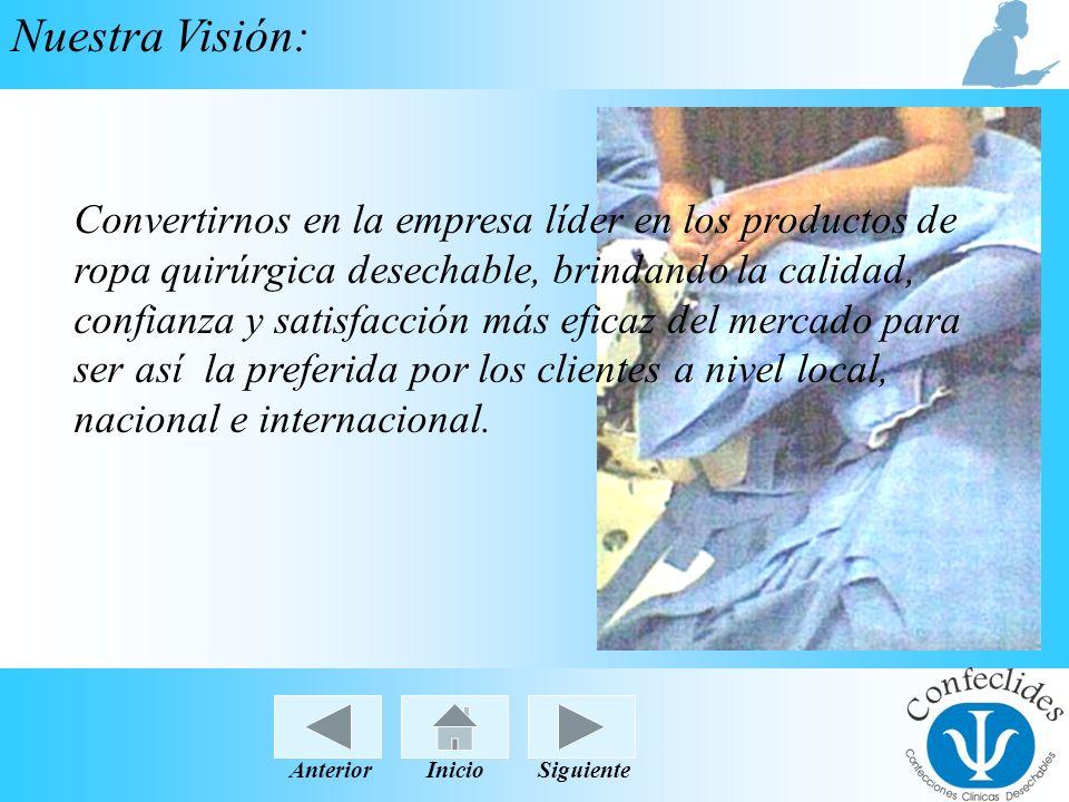 InicioAnteriorSiguiente Nuestra Visión: Convertirnos en la empresa líder en los productos de ropa quirúrgica desechable, brindando la calidad, confian