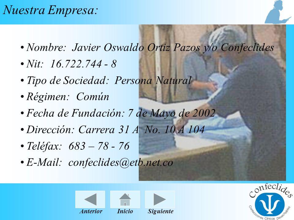 InicioAnteriorSiguiente Nuestra Empresa: Nombre: Javier Oswaldo Ortiz Pazos y/o Confeclides Nit: 16.722.744 - 8 Tipo de Sociedad: Persona Natural Régi