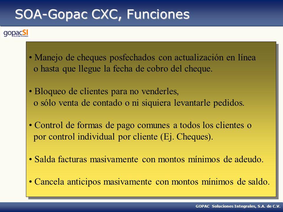 GOPAC Soluciones Integrales, S.A. de C.V. SOA-Gopac CXC, Funciones Manejo de cheques posfechados con actualización en línea o hasta que llegue la fech
