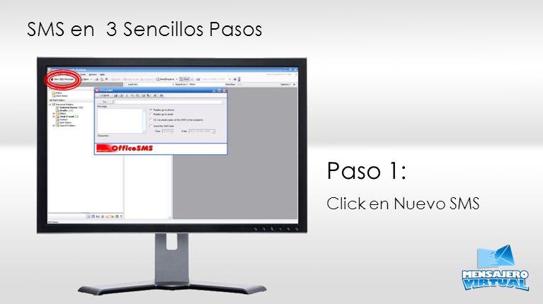 Paso 1: Click en Nuevo SMS SMS en 3 Sencillos Pasos