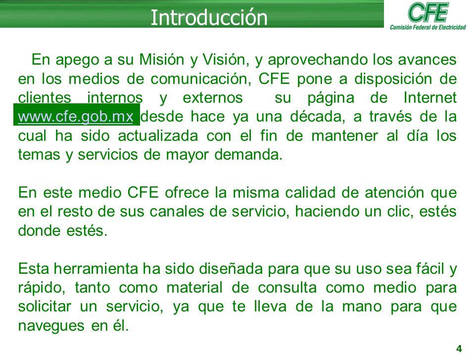 5 Portal de CFE Página principal www.cfe.gob.mx En la pagina principal es donde el usuario puede registrarse con el fin de consultar su recibo en linea y otros servicios, de igual forma si el usuario ya se encuentra registrado es donde puede ingresar el nombre del usuario y su contraseña.