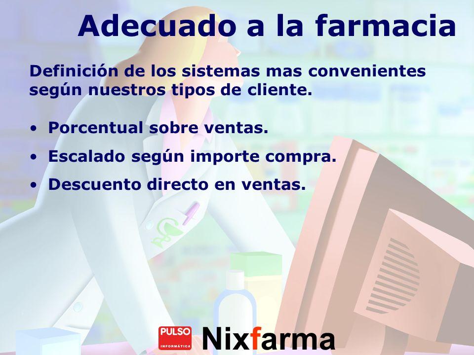 Nixfarma Adecuado a la farmacia Definición de los sistemas mas convenientes según nuestros tipos de cliente. Porcentual sobre ventas. Escalado según i