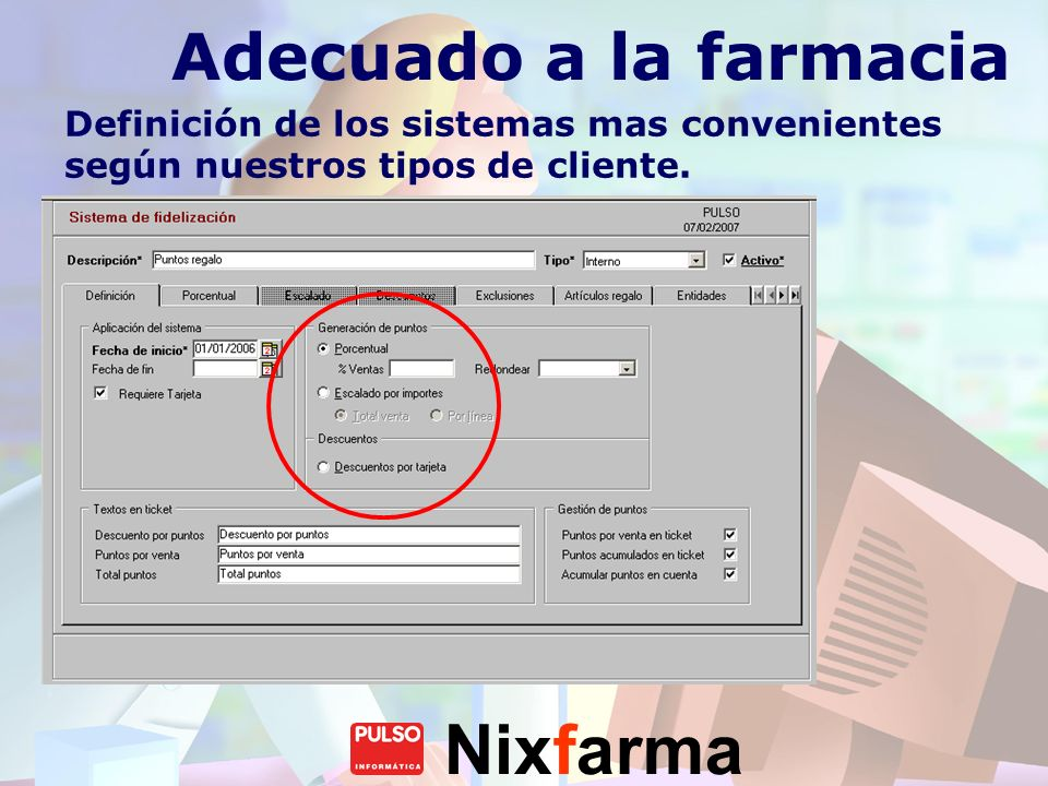 Nixfarma Catálogo de regalos Relación de productos, con cálculo del coste en puntos.
