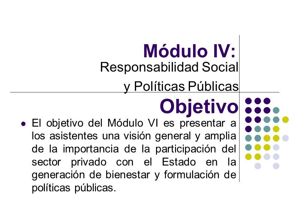Módulo IV: Responsabilidad Social y Políticas Públicas Objetivo El objetivo del Módulo VI es presentar a los asistentes una visión general y amplia de