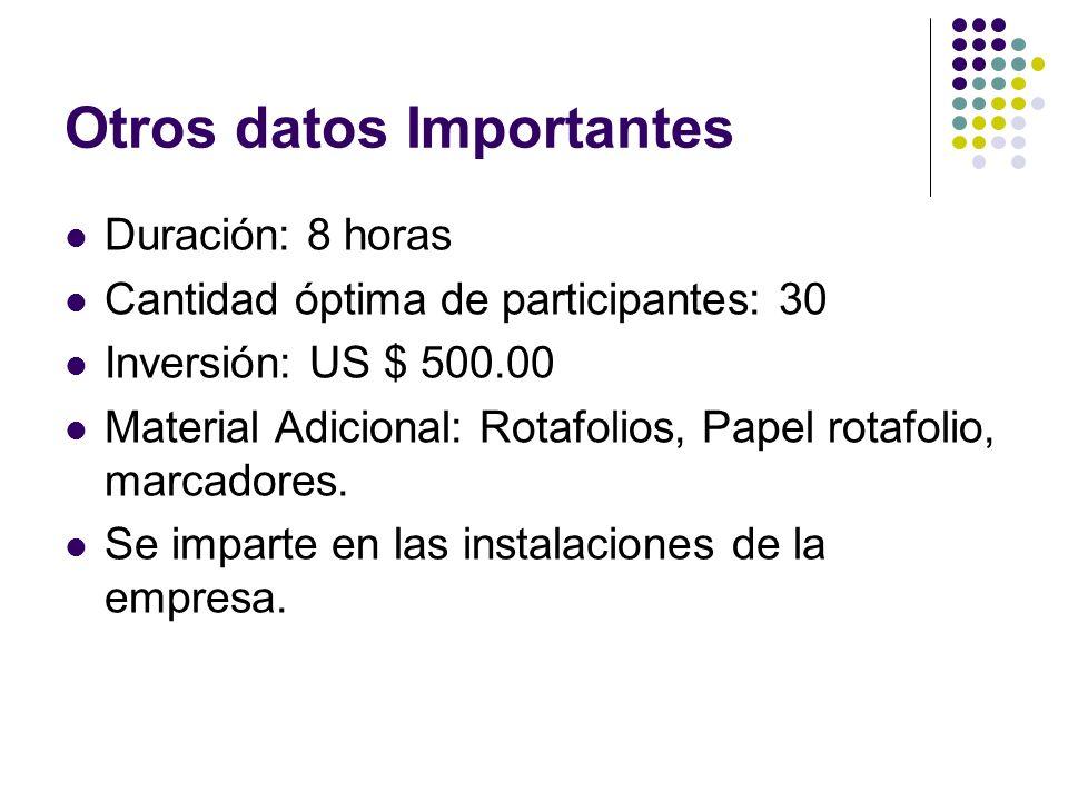 Otros datos Importantes Duración: 8 horas Cantidad óptima de participantes: 30 Inversión: US $ 500.00 Material Adicional: Rotafolios, Papel rotafolio,