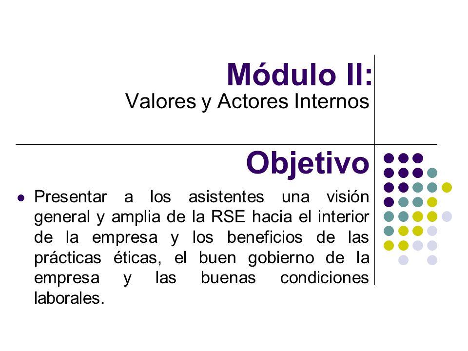 Módulo II: Valores y Actores Internos Objetivo Presentar a los asistentes una visión general y amplia de la RSE hacia el interior de la empresa y los