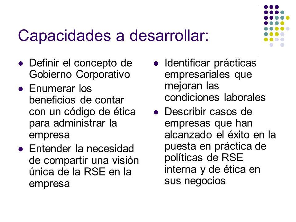 Identificar prácticas empresariales que mejoran las condiciones laborales Describir casos de empresas que han alcanzado el éxito en la puesta en práct