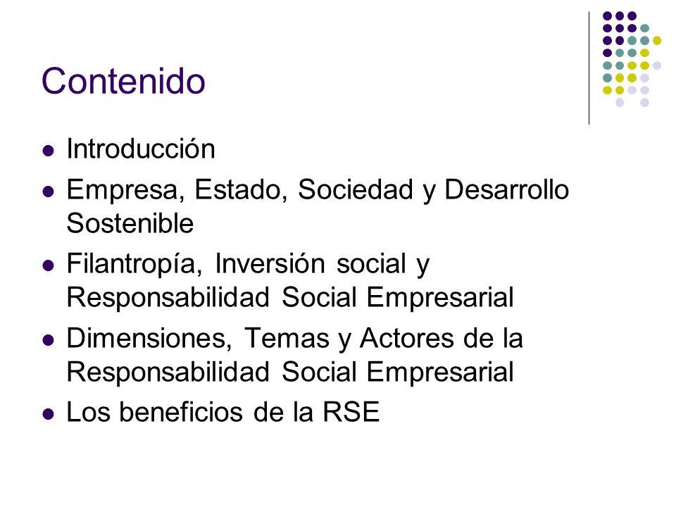 Contenido Introducción Empresa, Estado, Sociedad y Desarrollo Sostenible Filantropía, Inversión social y Responsabilidad Social Empresarial Dimensione
