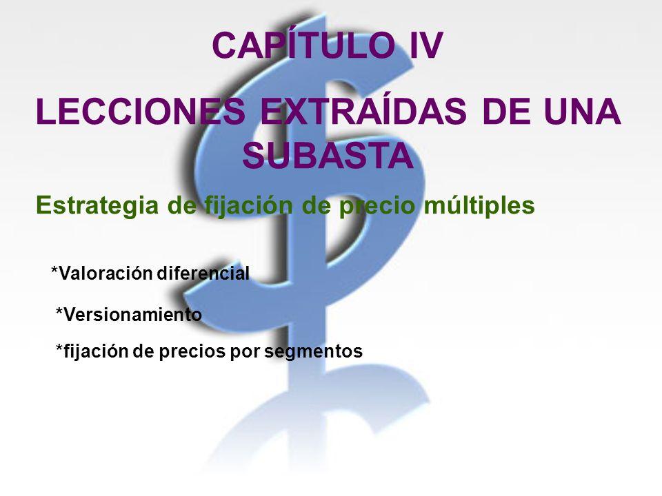 CAPÍTULO IV LECCIONES EXTRAÍDAS DE UNA SUBASTA Estrategia de fijación de precio múltiples *Valoración diferencial *Versionamiento *fijación de precios