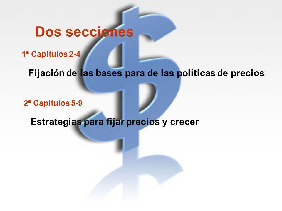 Dos secciones 1ª Capítulos 2-4 Fijación de las bases para de las políticas de precios 2ª Capítulos 5-9 Estrategias para fijar precios y crecer