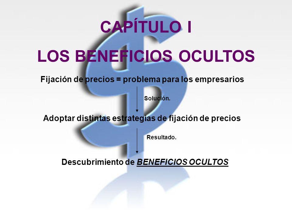 CAPÍTULO I LOS BENEFICIOS OCULTOS Fijación de precios = problema para los empresarios Solución. Adoptar distintas estrategias de fijación de precios R