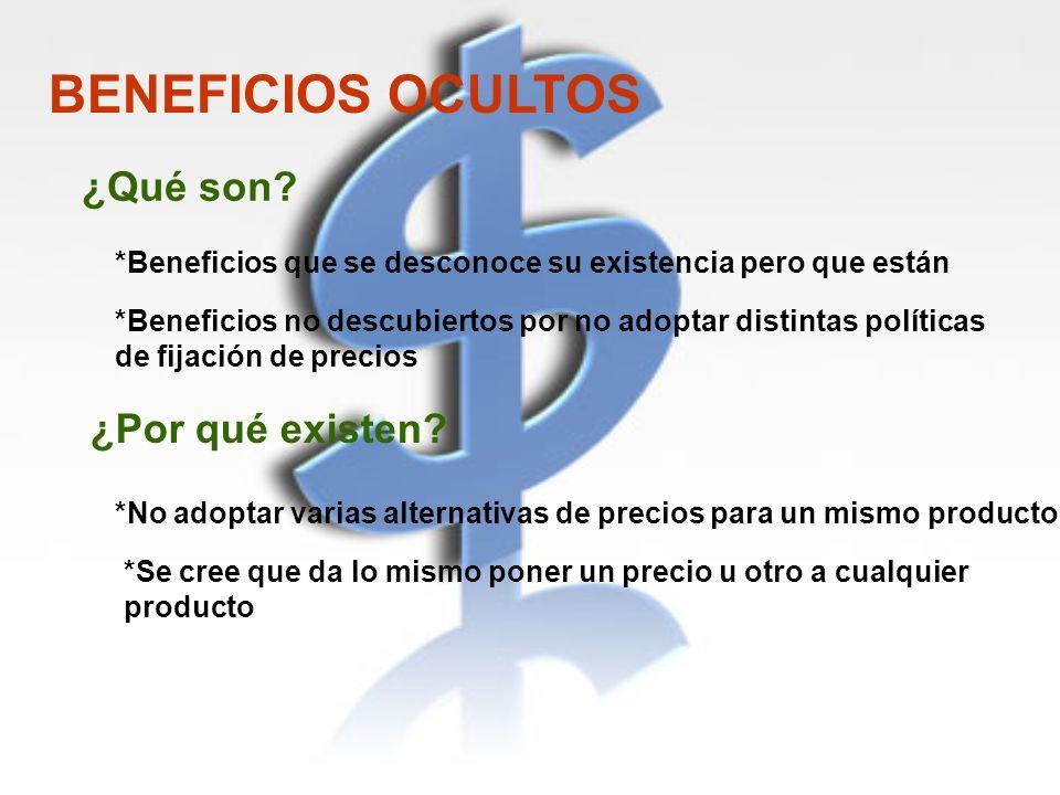 BENEFICIOS OCULTOS *Beneficios que se desconoce su existencia pero que están *No adoptar varias alternativas de precios para un mismo producto *Benefi