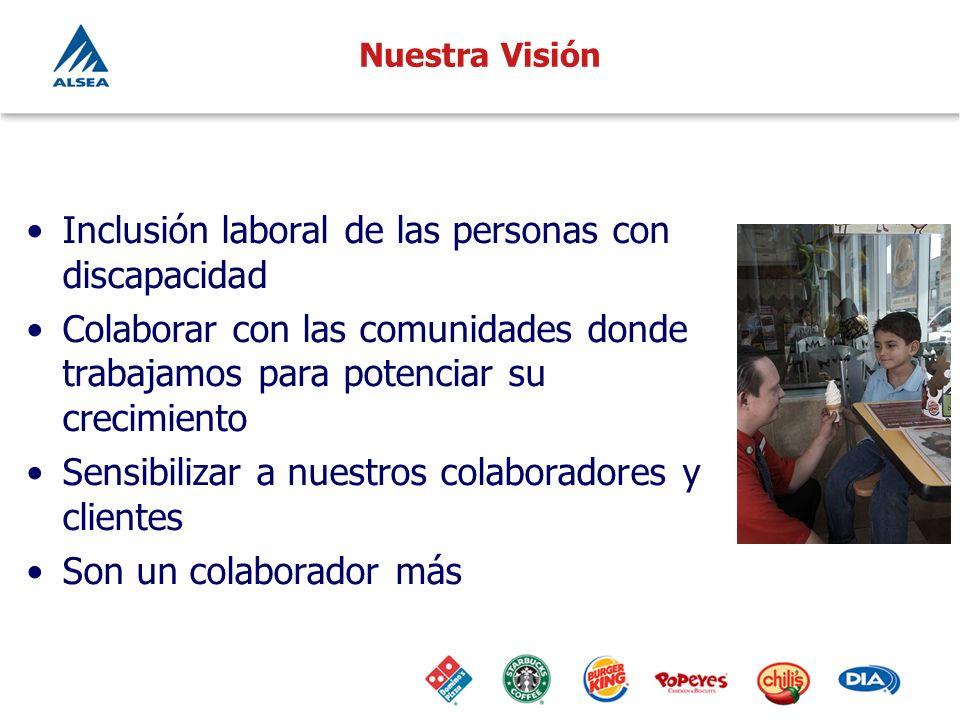 Nuestra Visión Inclusión laboral de las personas con discapacidad Colaborar con las comunidades donde trabajamos para potenciar su crecimiento Sensibi