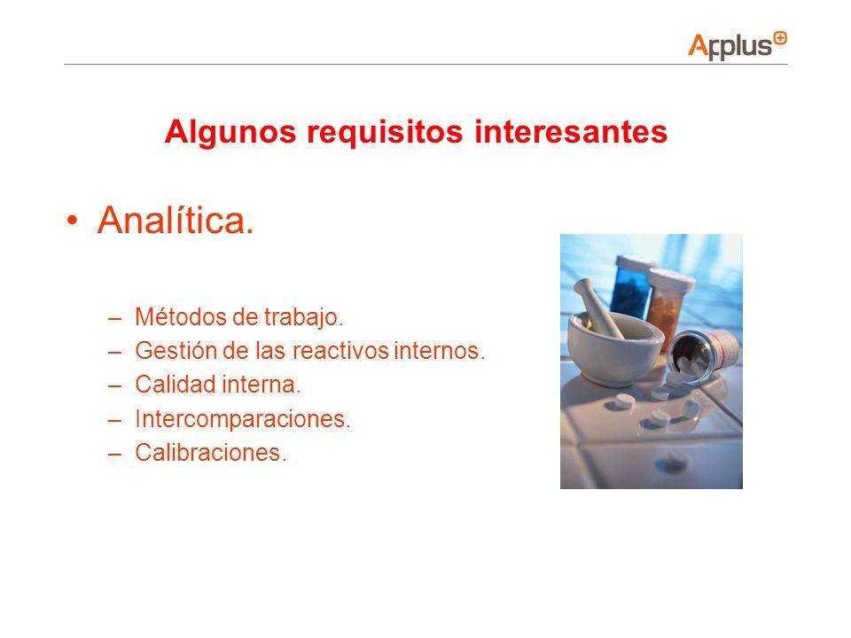 Analítica. –Métodos de trabajo. –Gestión de las reactivos internos. –Calidad interna. –Intercomparaciones. –Calibraciones. Algunos requisitos interesa