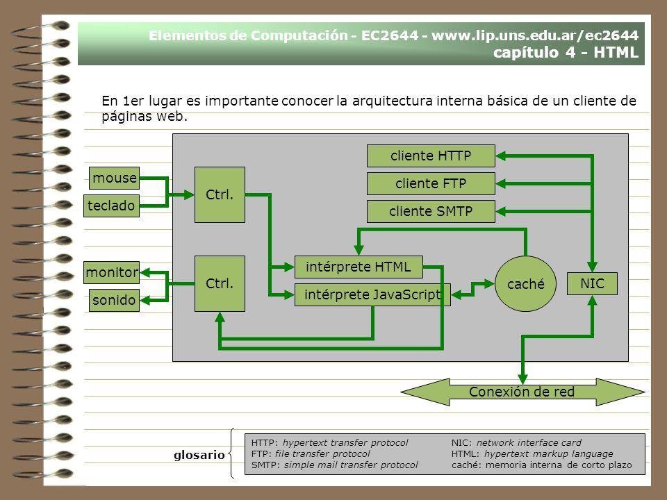 Elementos de Computación - EC2644 - www.lip.uns.edu.ar/ec2644 capítulo 4 - HTML En 1er lugar es importante conocer la arquitectura interna básica de un cliente de páginas web.
