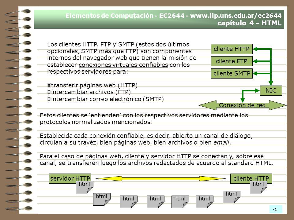 Elementos de Computación - EC2644 - www.lip.uns.edu.ar/ec2644 capítulo 4 - HTML Los clientes HTTP, FTP y SMTP (estos dos últimos opcionales, SMTP más que FTP) son componentes internos del navegador web que tienen la misión de establecer conexiones virtuales confiables con los respectivos servidores para: 3transferir páginas web (HTTP) 3intercambiar archivos (FTP) 3intercambiar correo electrónico (SMTP) cliente HTTP cliente FTP cliente SMTP NIC Estos clientes se entienden con los respectivos servidores mediante los protocolos normalizados mencionados.