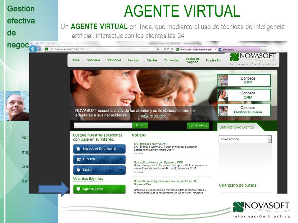 AGENTE VIRTUAL Un AGENTE VIRTUAL en línea, que mediante el uso de técnicas de inteligencia artificial, interactúe con los clientes las 24