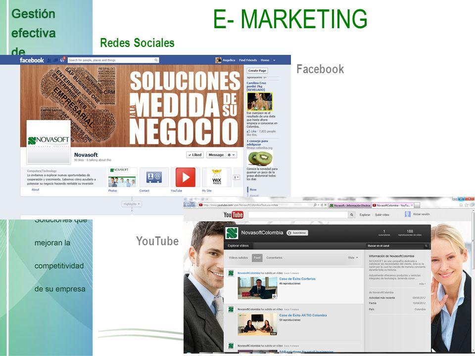 E- MARKETING Redes Sociales Facebook YouTube