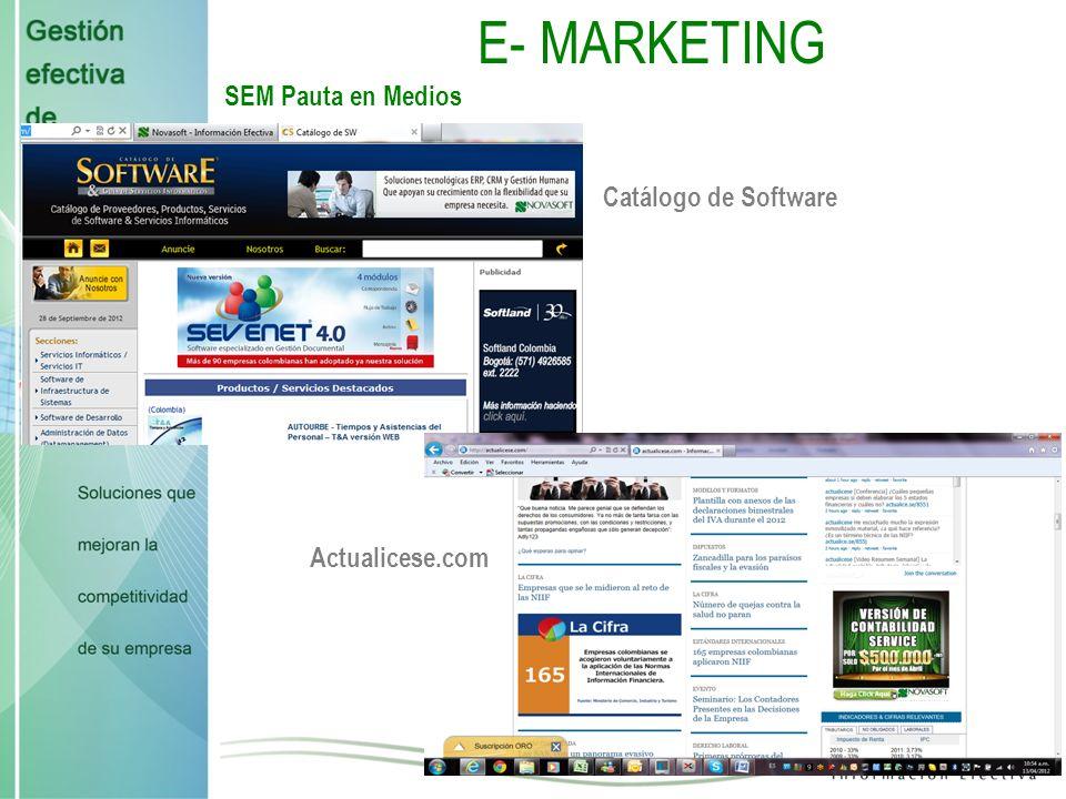 E- MARKETING SEM Pauta en Medios Catálogo de Software Actualicese.com