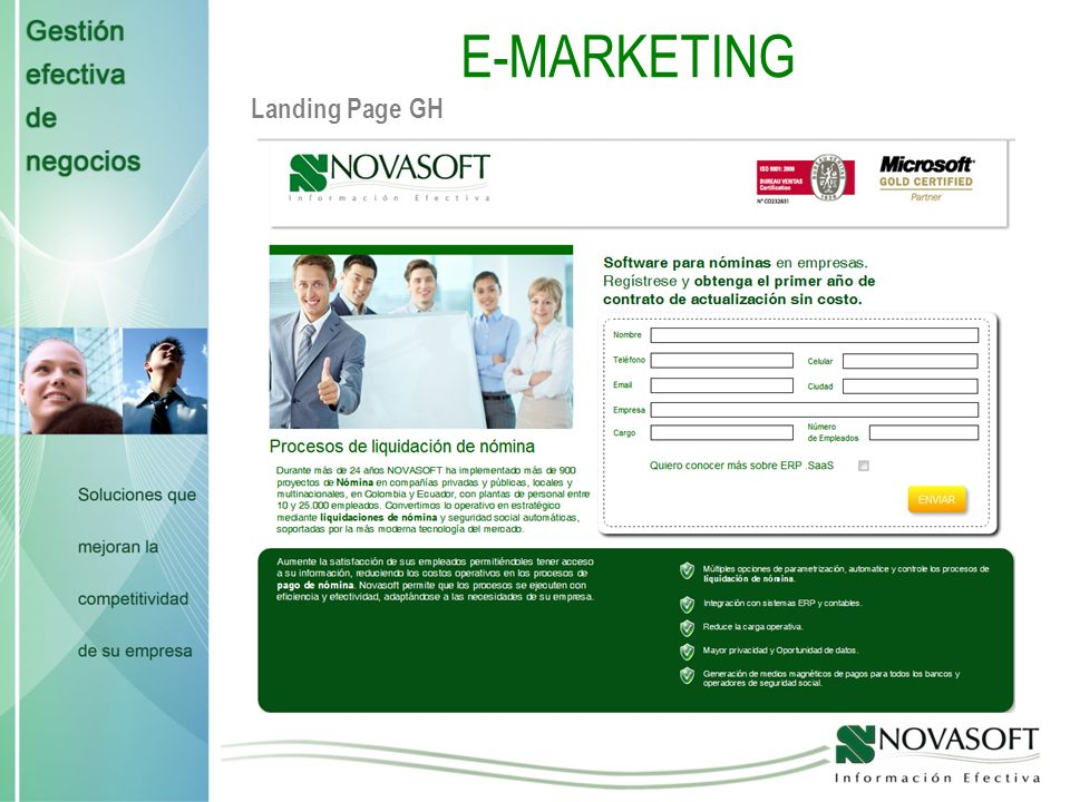 E-MARKETING Landing Page GH