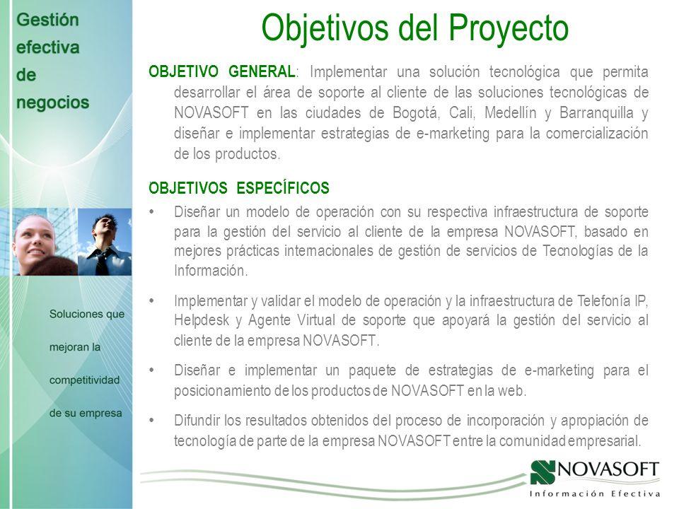 Objetivos del Proyecto OBJETIVOS ESPECÍFICOS Diseñar un modelo de operación con su respectiva infraestructura de soporte para la gestión del servicio al cliente de la empresa NOVASOFT, basado en mejores prácticas internacionales de gestión de servicios de Tecnologías de la Información.