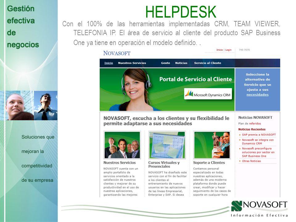 HELPDESK Con el 100% de las herramientas implementadas CRM, TEAM VIEWER, TELEFONIA IP.