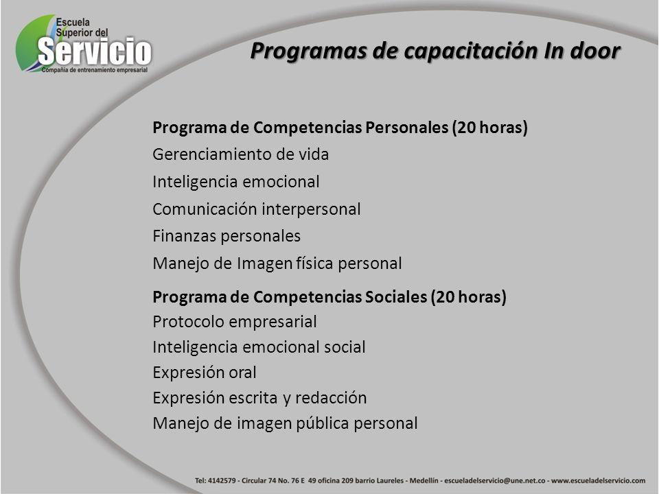 Programa de Competencias Personales (20 horas) Gerenciamiento de vida Inteligencia emocional Comunicación interpersonal Finanzas personales Manejo de
