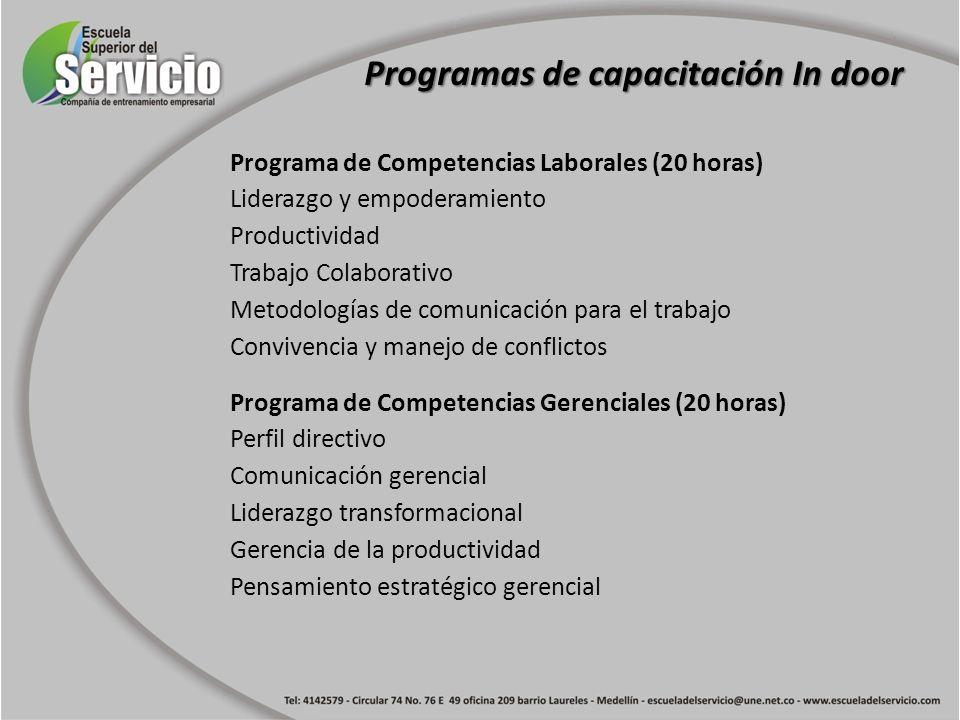 Programa de Competencias Laborales (20 horas) Liderazgo y empoderamiento Productividad Trabajo Colaborativo Metodologías de comunicación para el traba