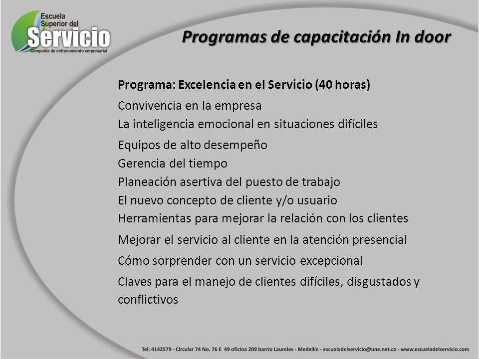 Programa: Excelencia en el Servicio (40 horas) Convivencia en la empresa La inteligencia emocional en situaciones difíciles Equipos de alto desempeño