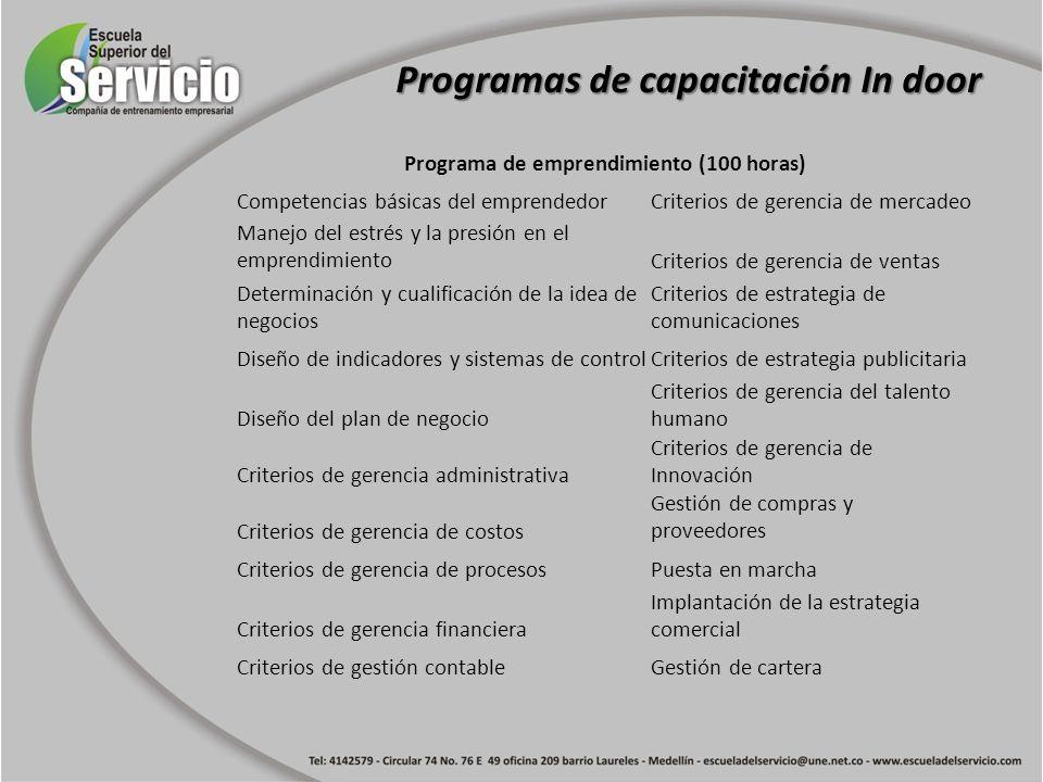 Programa de emprendimiento (100 horas) Competencias básicas del emprendedorCriterios de gerencia de mercadeo Manejo del estrés y la presión en el empr