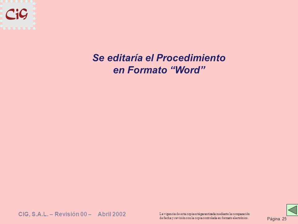 Página 25 La vigencia de esta copia está garantizada mediante la comparación de fecha y revisión con la copia controlada en formato electrónico. CIG,