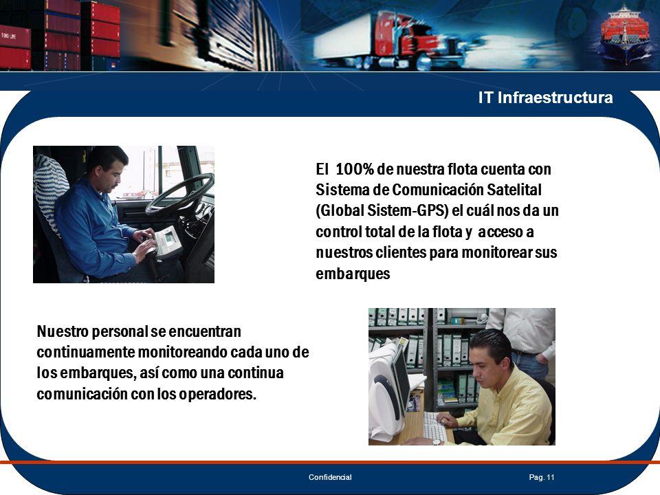 ConfidencialPag. 11 IT Infraestructura El 100% de nuestra flota cuenta con Sistema de Comunicación Satelital (Global Sistem-GPS) el cuál nos da un con