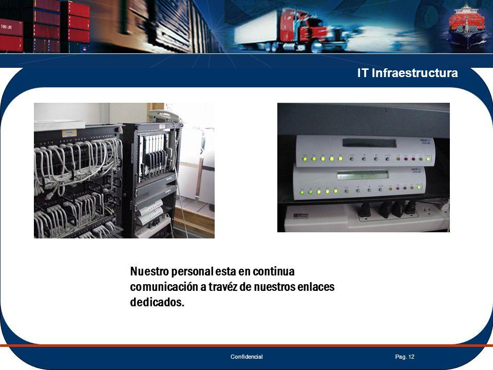 ConfidencialPag. 12 IT Infraestructura Nuestro personal esta en continua comunicación a travéz de nuestros enlaces dedicados.