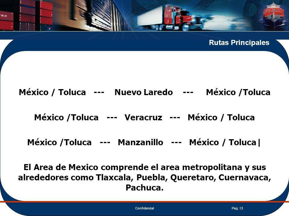 ConfidencialPag. 13 Rutas Principales México / Toluca --- Nuevo Laredo --- México /Toluca México /Toluca --- Veracruz --- México / Toluca México /Tolu