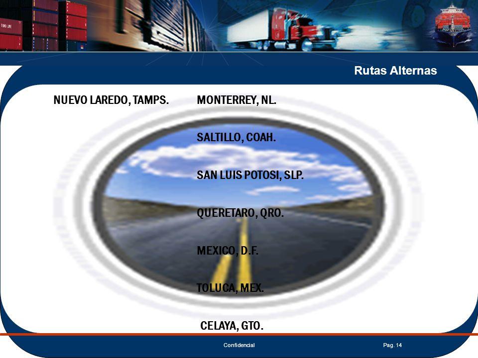 ConfidencialPag. 14 Rutas Alternas NUEVO LAREDO, TAMPS.MONTERREY, NL. SALTILLO, COAH. SAN LUIS POTOSI, SLP. QUERETARO, QRO. MEXICO, D.F. TOLUCA, MEX.