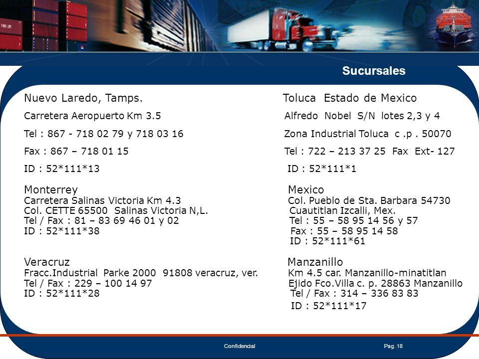 ConfidencialPag. 18 Nuevo Laredo, Tamps. Toluca Estado de Mexico Carretera Aeropuerto Km 3.5 Alfredo Nobel S/N lotes 2,3 y 4 Tel : 867 - 718 02 79 y 7