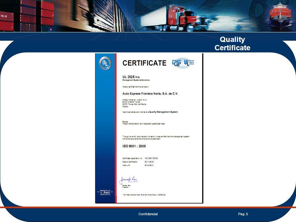 ConfidencialPag. 5 Quality Certificate