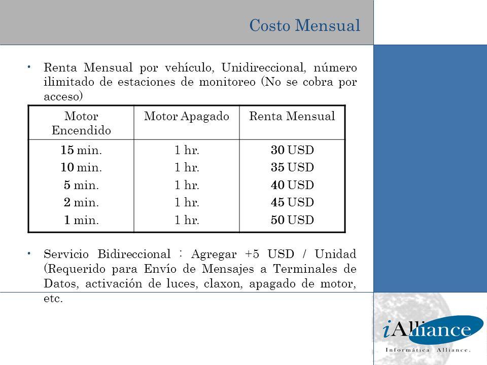 Costo Mensual Renta Mensual por vehículo, Unidireccional, número ilimitado de estaciones de monitoreo (No se cobra por acceso) Servicio Bidireccional