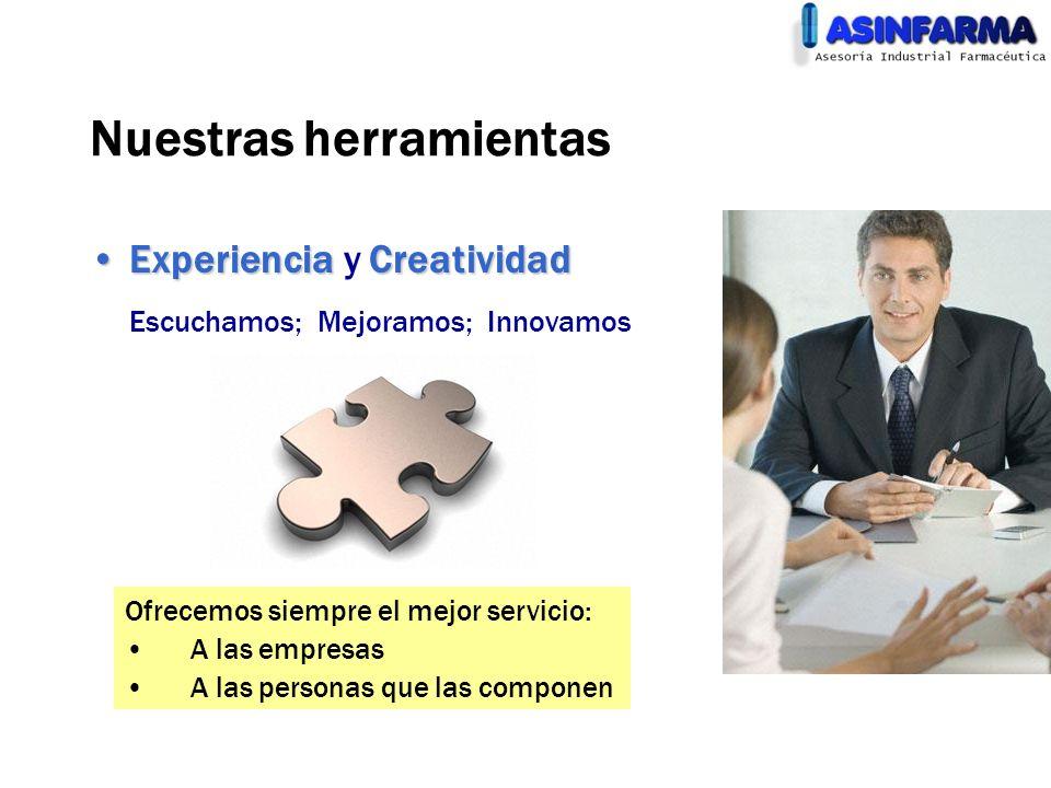 Nuestras herramientas ExperienciaCreatividadExperiencia y Creatividad Escuchamos; Mejoramos; Innovamos Ofrecemos siempre el mejor servicio: A las empr