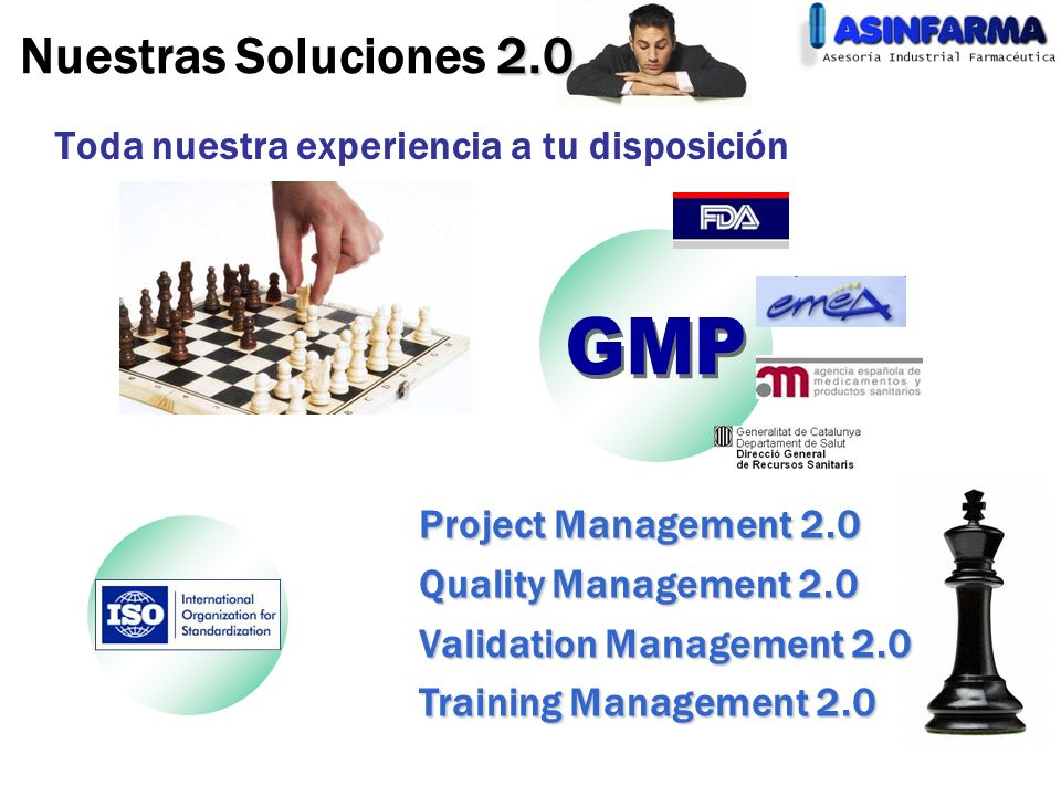 2.0 Nuestras Soluciones 2.0 Toda nuestra experiencia a tu disposición Project Management 2.0 Quality Management 2.0 Validation Management 2.0 Training Management 2.0