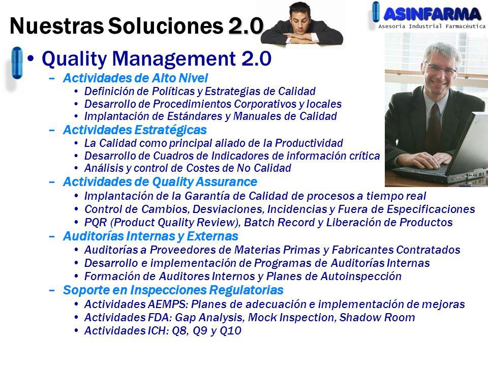 Quality Management 2.0 –Actividades de Alto Nivel Definición de Políticas y Estrategias de Calidad Desarrollo de Procedimientos Corporativos y locales