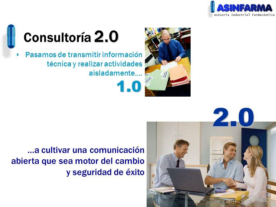 2.0 Consultoría 2.0 Pasamos de transmitir información técnica y realizar actividades aisladamente.......a cultivar una comunicación abierta que sea mo